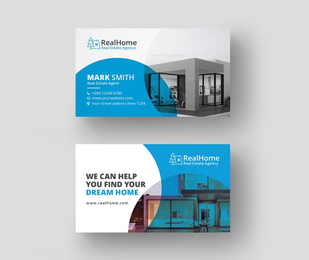Agencia inmobiliaria tarjetas presentacion plantilla