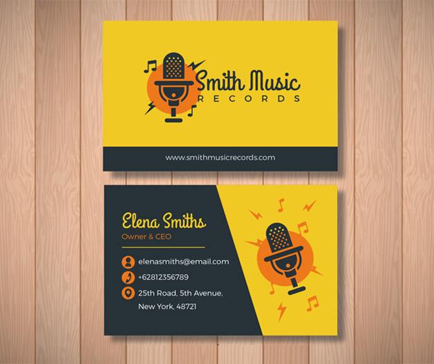 Diseño para tarjetas de visita de musicos grabacion