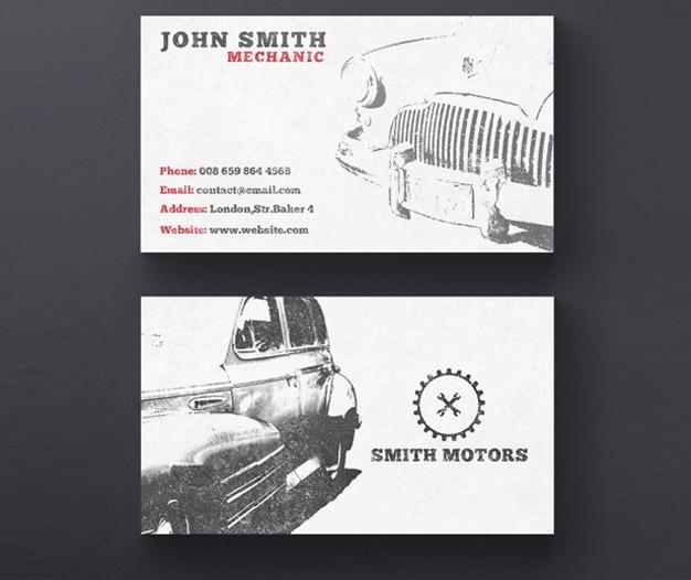 Diseño para tarjetas de visita de taller mecanico