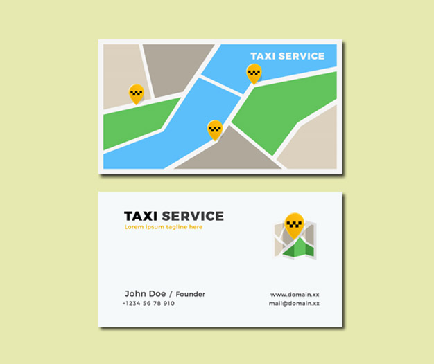 Diseño para tarjetas de visita taxista