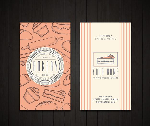 Diseño tarjetas de presentacion pastelerias
