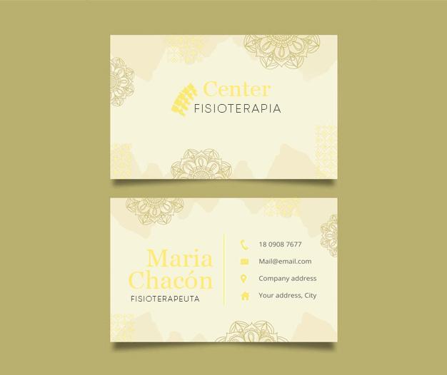 Diseño tarjetas presentacion fisioterapia