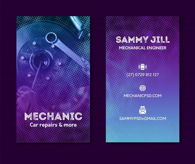 Diseño tarjetas profesionales para taller mecanico