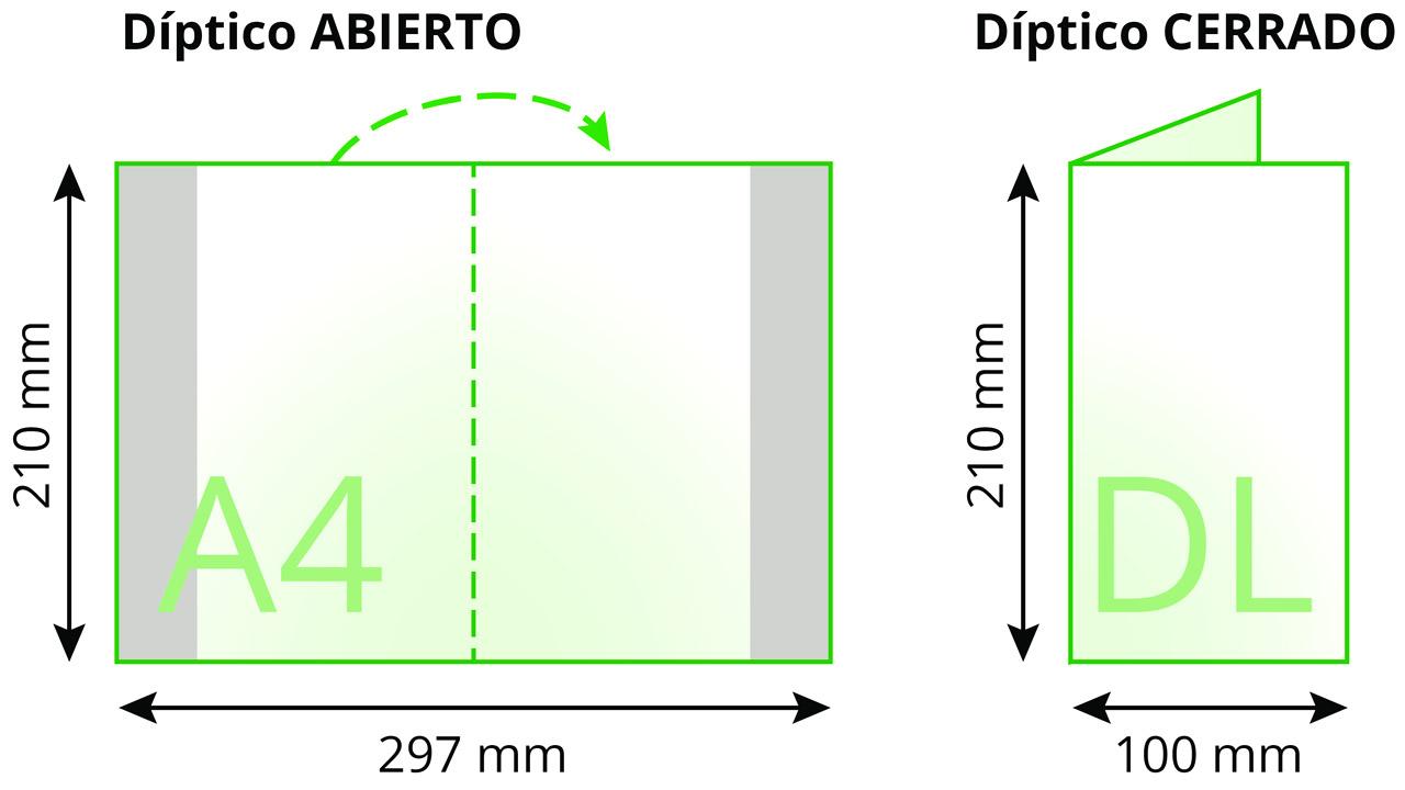 Imprimir dípticos tamaños