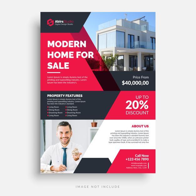 Plantilla de diseño de flyer para real estates