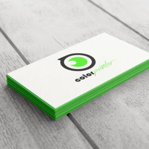 Tarjetas de visita multicapa verde. Ejemplo de tarjetas impresas en papel multicapa