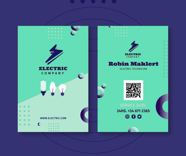 Plantilla de diseño para imprimir tarjetas de electricista 14