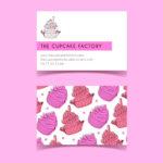Plantilla de diseño para tarjetas de presentacion reposteria