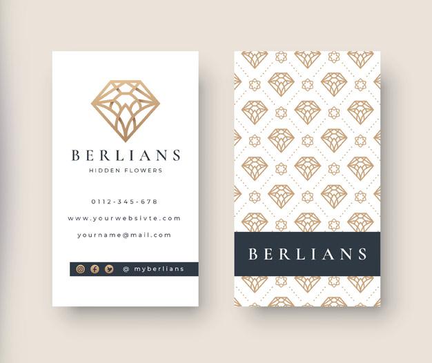 Plantilla de diseño para tarjetas de visita de joyeria