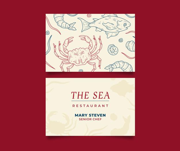 Plantilla de diseño tarjetas profesionales restaurantes bares y marisquerias