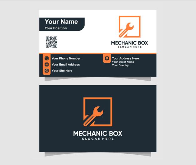 Plantilla diseño tarjetas de negocios mecanico