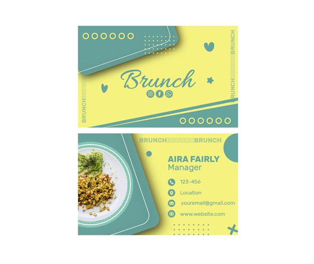 Plantilla diseño tarjetas de restaurantes
