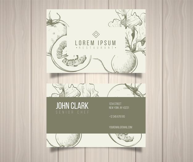 Plantilla diseño tarjetas restaurante