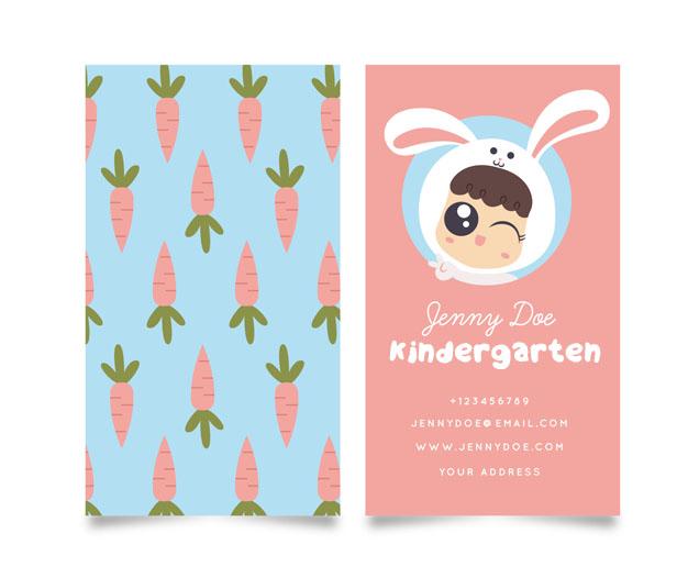 Plantilla diseñoTarjetas visita infantiles guarderia