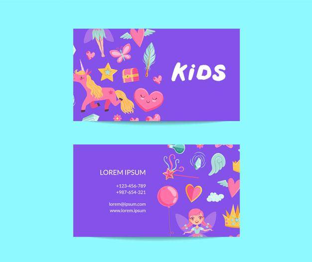 Plantilla tarjetas de negocios infantiles