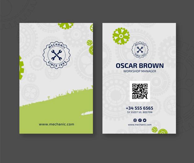 Taller mecanico tarjetas de visita plantilla