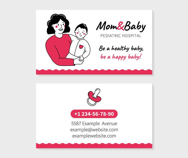 Tarjetas de presentacion infantiles pediatra diseño