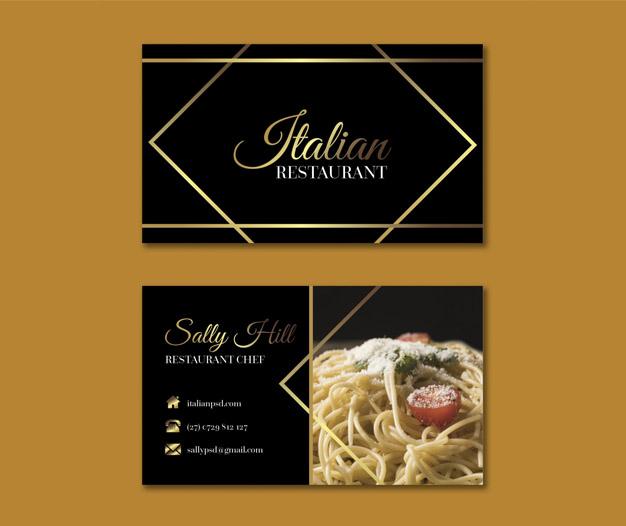 Tarjetas de presentacion restaurante italiano