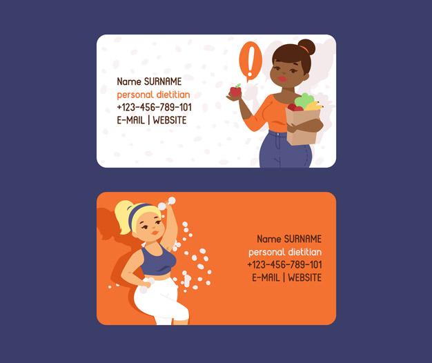 Tarjetas de visita dietista diseño