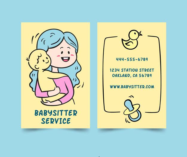 Tarjetas de visita infantil cuidado niñera