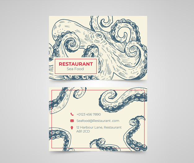 Tarjetas de visita marisqueria restaurante
