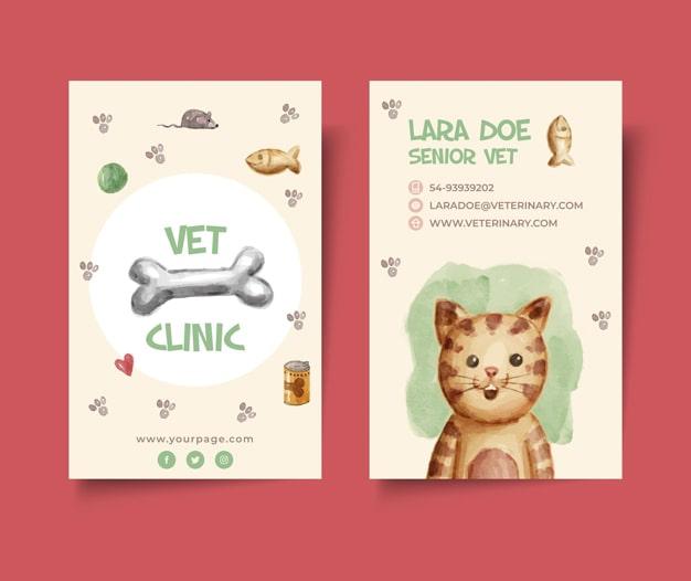 Tarjetas de visita veterinaria mascotas