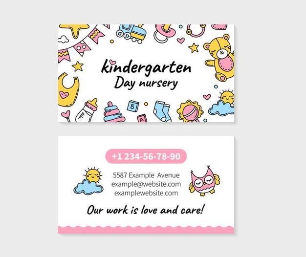 Tarjetas jardin de infancia diseño
