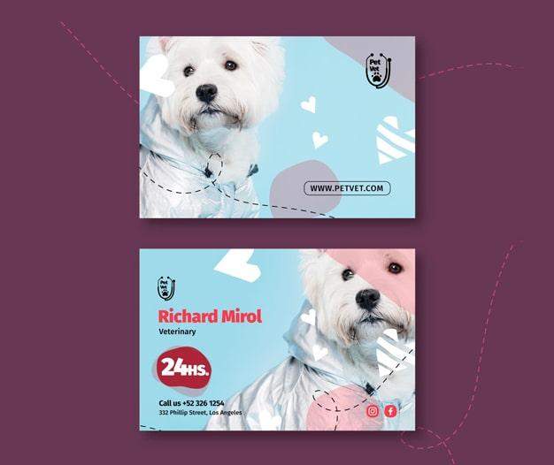 Tarjetas profesionales para clinica veterinaria