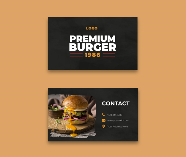 Tarjetas de negocios restaurantes hamburgueseria