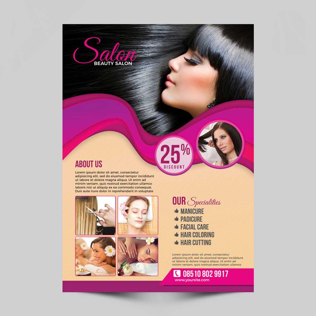 Flyers de peluquería profesionales para empresas y negocios.