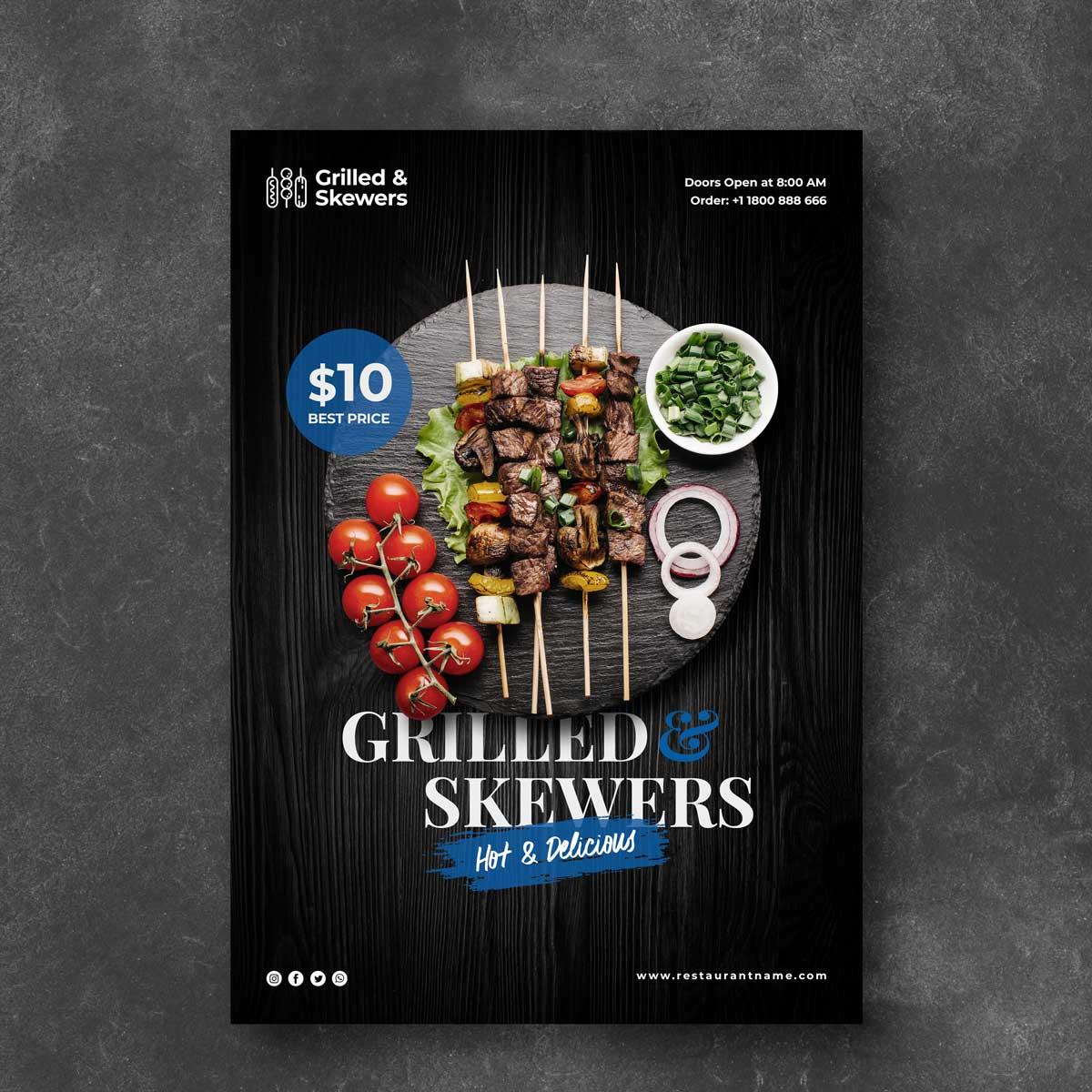 Flyers de restaurantes con diseños profesionales para empresas y organismos.