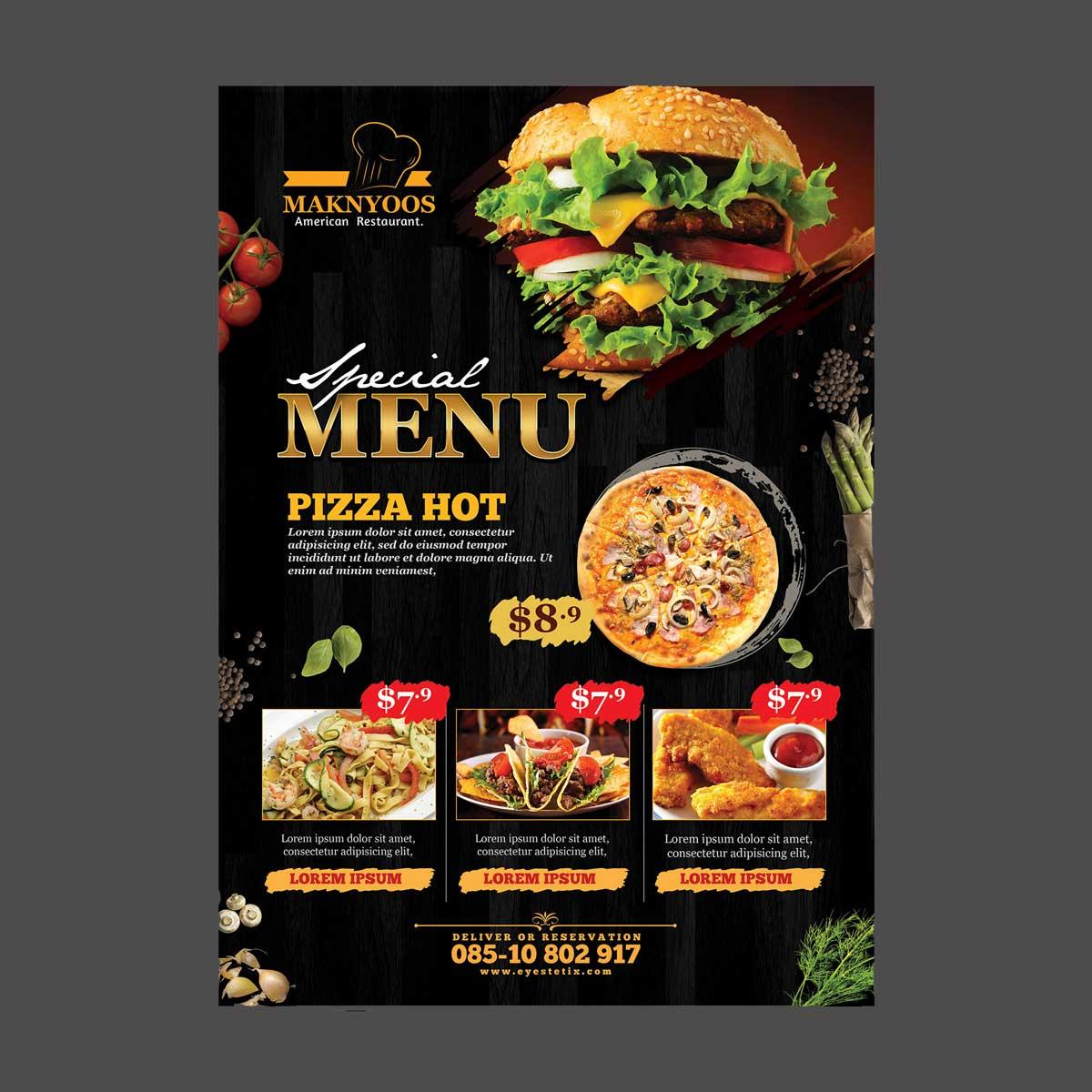Flyers para restaurantes con diseño profesional y material de calidad.