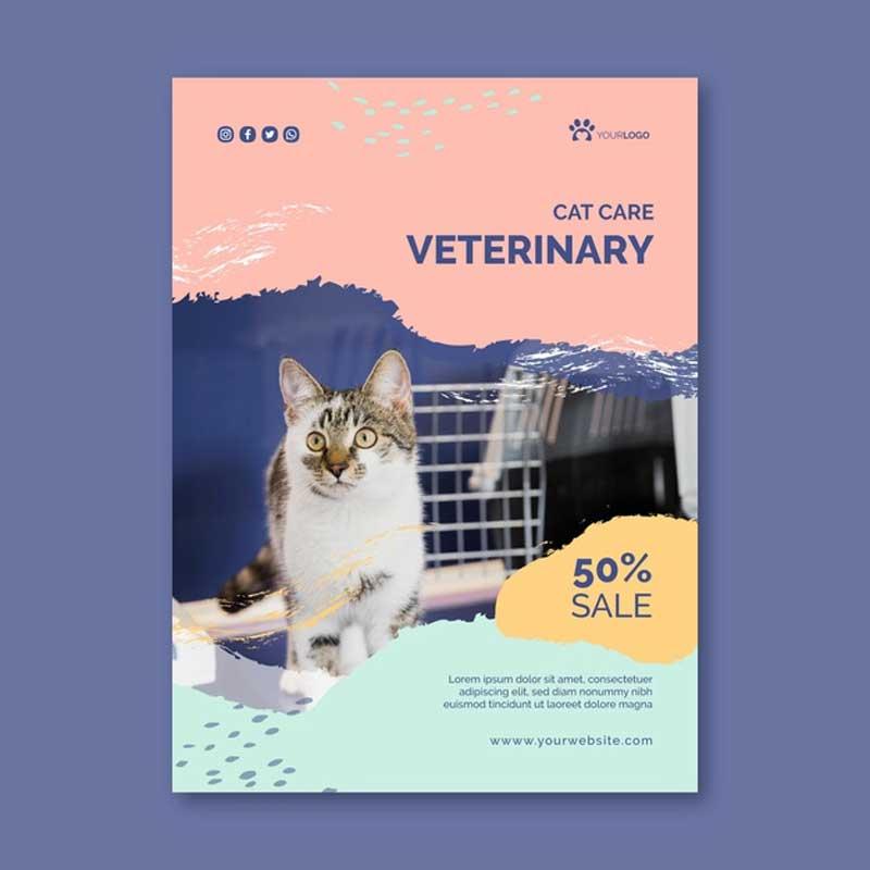 Diseño e impresión de flyers para veterinarios.