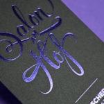 Imprimir con efectos originales. Tarjetas de visita hot stamping azul