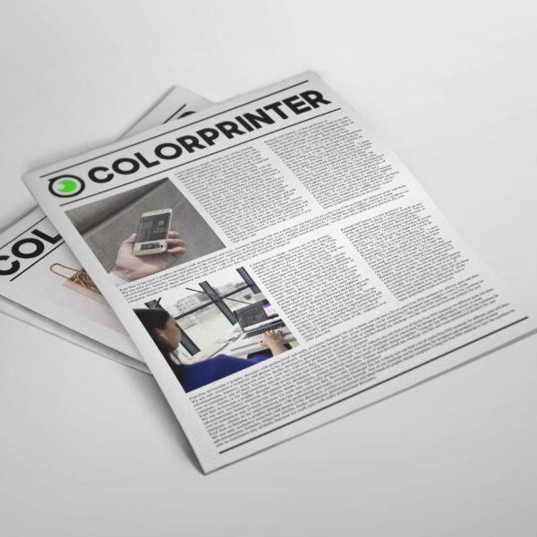 Las mejores calidades para sus periódicos impresos. Imprimir periódicos personalizados ahora es fácil y económico con Colorprinter. Imprimimos tus periódicos a todo color o en blanco y negro. Descubre nuestros tipos de papel, formatos y acabados.